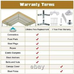 10x20 Adjustable Outdoor Carport Canopy Shelter Heavy Duty Garage Storage Shed