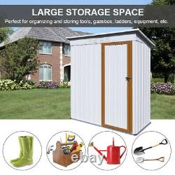 5ft x 3ft Metal Shed Storage Sheds Outdoor Garden Yard Tool Storage House White
