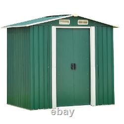 6'x4' Outdoor Garden Storage Shed Utility Tool House Sliding Door Sloped Roof