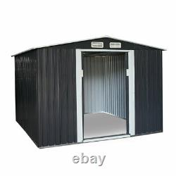 8 x 6 FT Outdoor Garden Storage Shed Utility Tool House Box Steel Backyard Lawn