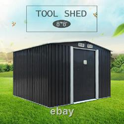 8'x8'Outdoor Gable Steel Storage Shed Large Tool House Organizer Backyard Garden