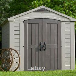 Keter 211203 Factor 8 x 11 All Weather Resistant Outdoor Storage Shed, Taupe
