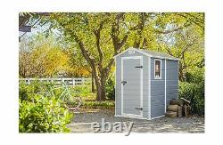 Keter New Manor Large 4x6Feet Resin Plastic Outdoor Backyard Garden Storage Shed