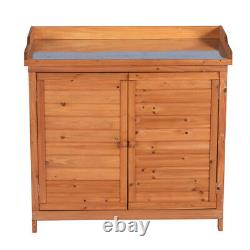 Outdoor Garden Wood Storage Furniture Box Waterproof Tool Shed with Potting Bench