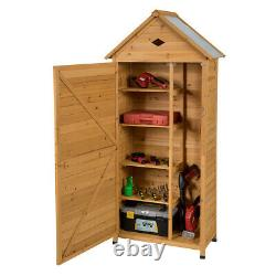 Outdoor Storage Shed Lockable Wooden Garden Tool Storage Cabinet With Shelves
