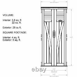Outdoor Storage Utility Shed Tall Patio Garden Vertical Resin Tool Cabinet Box