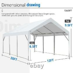 Peaktop Outdoor 12x20 Heavy Duty Carport Storage Shed Boat Shelter With Ground Bar