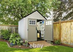 Rubbermaid 7x7 Ft Weather Resistant Resin Outdoor Storage Shed, Sand (Open Box)